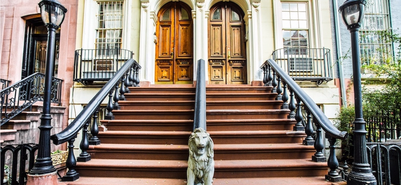 NYC brownstone entry staircase