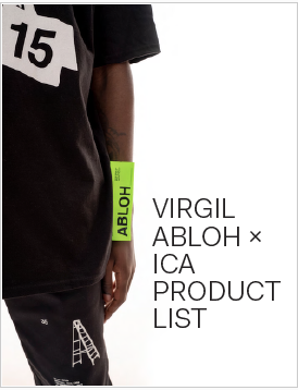 """A publication cover reading """"Virgil Abloh X ICA Product List"""" and showing a dark-skinned person in black t-shirt with a large bright green tag on the side reading """"Abloh."""""""
