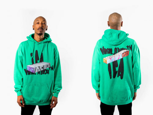 Two images of a young man in a green hooded sweatshirt, shown from front and back.
