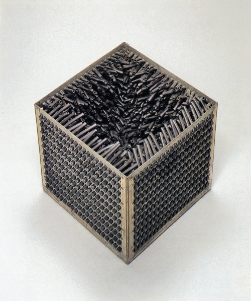 A sculpture made of steel and rubber in the shape of a cube with an open top to revealing an interior of spiky, organic looking black tubes interior.