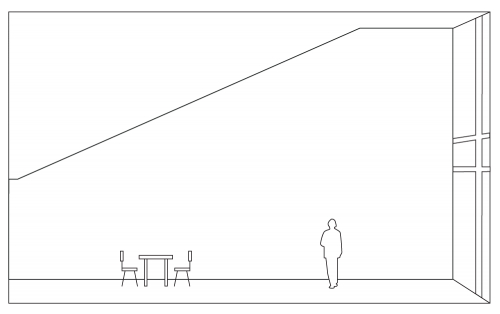A line illustration of the ICA's Sandra and Gerald Fineberg Art Wall