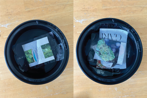 Newspaper and magazine cut-outs soaked in a bowl of water.