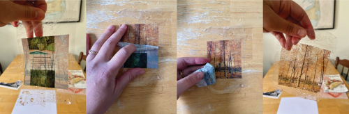 A series of four images showing step-by-step a hand peeling off the magazine-cut out paper from the tape to reveal the transferred image.