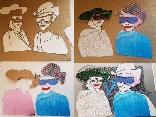Four images presenting cut-out shapes of two smiling figures in various prints, pattern, and colored outfits.