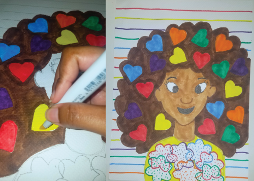 A stencil illustration of a dark-skinned girl with colorful hearts in her hair.