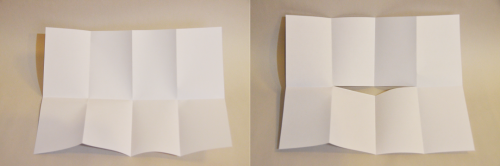 Two images: on the left is a blank piece of white paper folded into eight equal sections; on the right is the same paper with a slit in the middle of the sheet.
