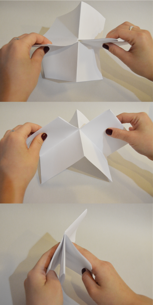 Three images stacked, each showing hands folding paper in various ways.