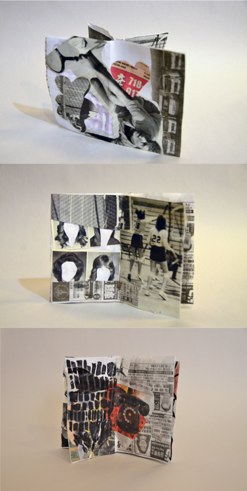 Three images stacked showing different angles of a miniature magazine made from collaged newspaper cut-out.