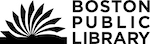 """An icon of a book with pages flipping on the left, and a wordmark of """"BOSTON PUBLIC LIBRARY"""" on the right."""