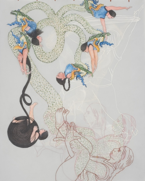 A watercolor of a five-headed hydra eating avatars of the artist surrounded by other avatars.