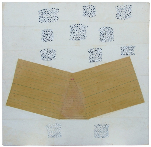 A painting featuring two sheets of lined penmanship paper surrounded by clusters of small eyes.