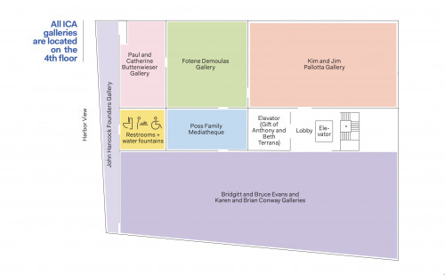 """Colored map of ICA galleries, restrooms, elevators, etc. Text reads """"All ICA galleries are located on the 4th floor."""""""