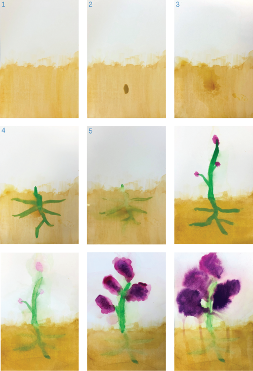 Nine watercolor paintings depicting the progression of a purple flower growing from soil.
