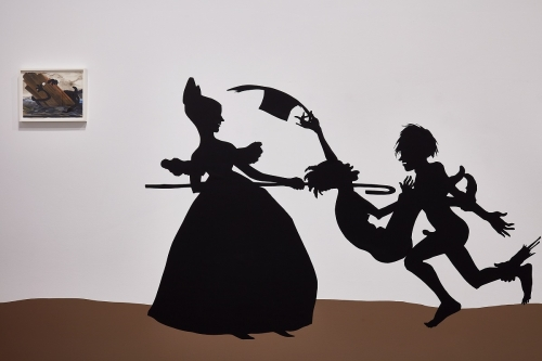 Kara Walker, The Nigger Huck Finn Pursues Happiness Beyond the Narrow Constraints of Your Overdetermined Thesis on Freedom – Drawn and Quartered by Mister Kara Walkerberry, with Condolences to the Authors, 2010