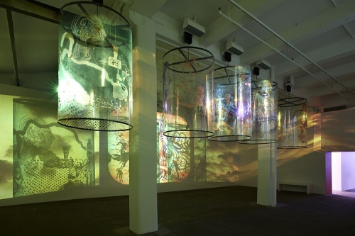 Installation view, Nalini Malani: In Search of Vanished Blood, Galerie Lelong, New York, September 6 – October 26, 2013
