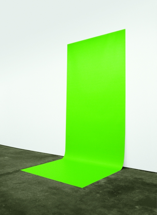 A long, bright green photograph that attaches to the wall and extends onto the floor to look like a green screen backdrop.