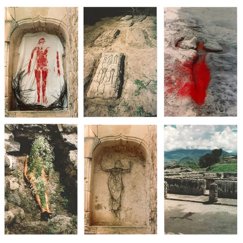 Six color photographs in two rows of three show a figure rendered in various ways including as a line drawing in dirt, in blood or red pigment on cloth and in sand, and in sticks in an architectural hollow.