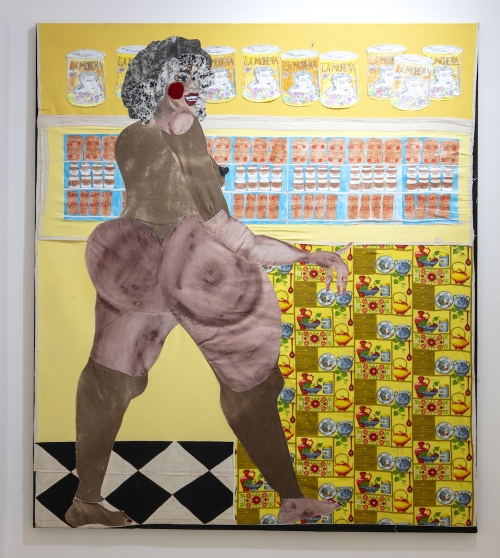 A collaged painting of a full-figured, medium-dark-skinned woman shopping in a bodega. She stands naked before a wall of canned goods and a yellow background.