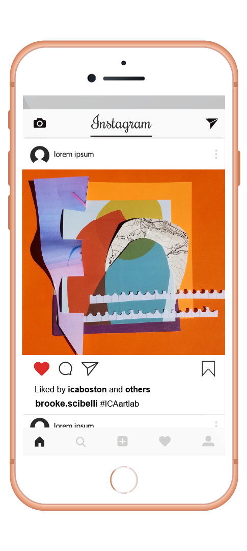 A colorful square contribution posted on Instagram on an iPhone