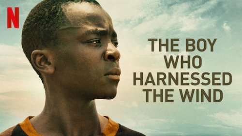 "Headshot of an African boy against a blue sky. Text reads ""The Boy Who Harnessed the Wind"""