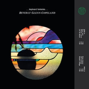 Album cover for Beverly Glenn-Copeland's Keyboard Fantasies, featuring the silhouetted head of an African American man within an abstract stained glass image.
