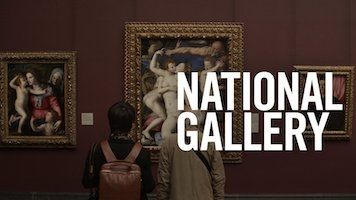 "The text ""NATIONAL GALLERY"" overlaid on a photo of a woman looking at paintings in a gallery."