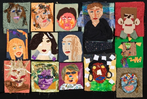 A series of portraits made from cut-out fabrics.
