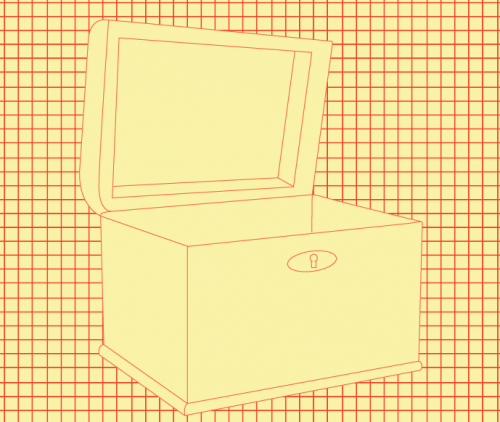 Red and yellow graphic of a treasure chest against a checked background
