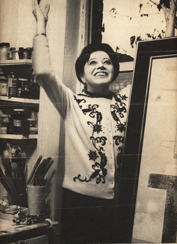 Irene Rice Pereira at easel, 1950
