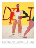 "Poster: An artwork created of fabric and threads depicts a stylized male figure holding a beer stands wide-legged in front of a yellow wall reading ""DELI"". Text at bottom reads ""Tschabalala Self: Out of Body."""