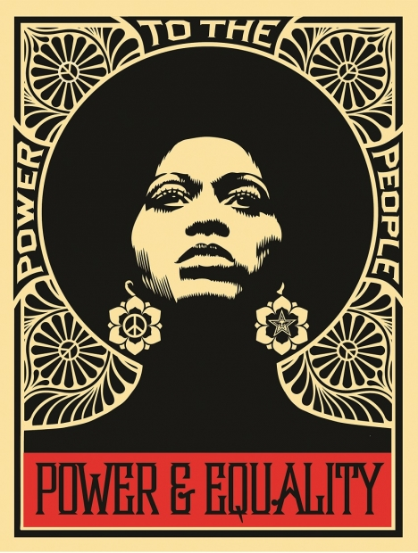 """A black and red screenprint of a woman with an afro surrounded by a pattern of petals and peace signs and the phrases """"POWER TO THE PEOPLE,"""" and """"POWER & EQUALITY."""""""