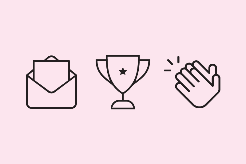 Icons of a paper in an open envelope, a trophy, and clapping hands.