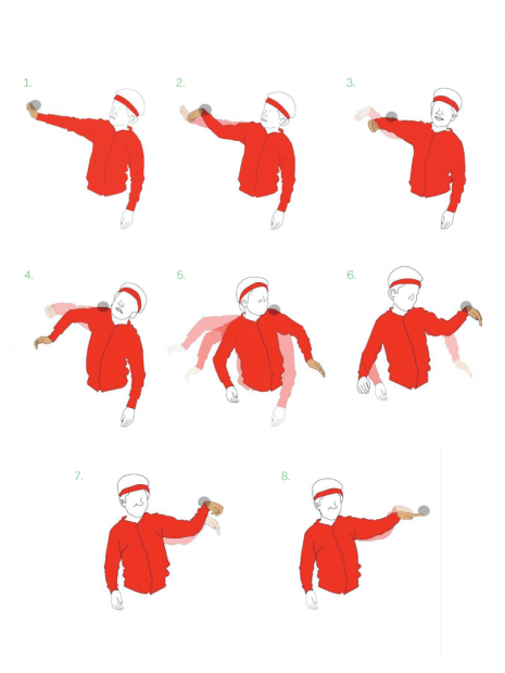 An eight-part step-by-step illustration of a figure demonstrating a dance movement where a ball balances across the figure's arms.