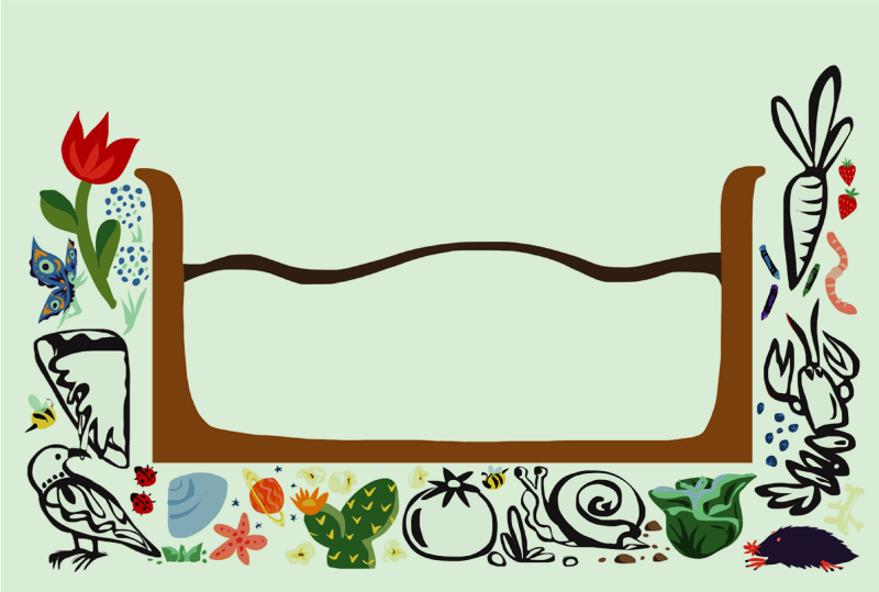 Art lab community garden icon, showing a bed of dirt surrounded by designs of plants, vegetables, fruit, flowers, and animals.