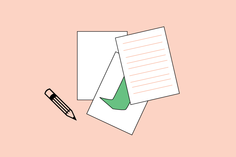 Art lab icon with papers and pencil over light peach background.