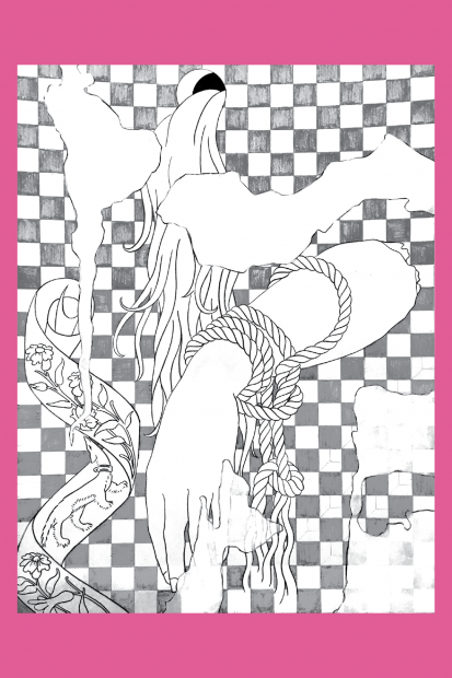 """A coloring page of Caitlin Keogh's painting """"Blank Melody, Old Wall"""""""
