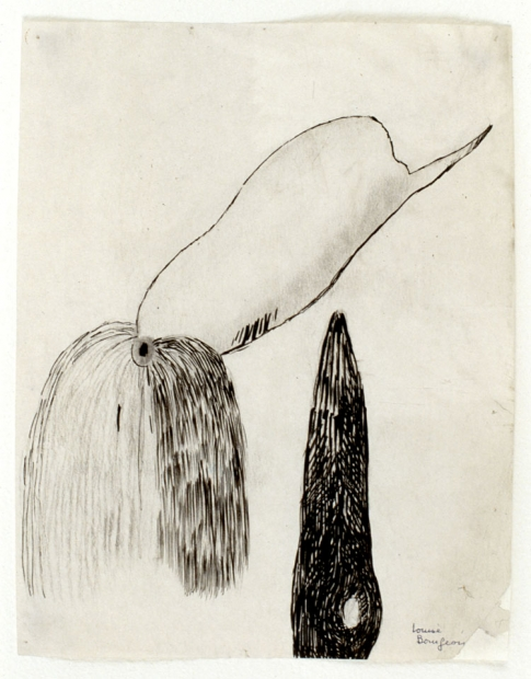 A drawing of two abstract, tubular forms detailed with short, black marks.