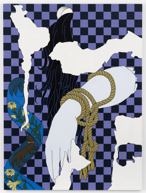 An acrylic painting depicts abstracted white shapes, a grey hand, a blue scarf, flowing black hair, and gold rope overlaid on a purple-and-black checkered background.