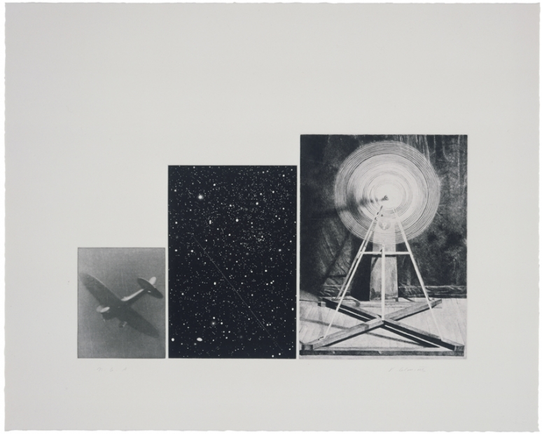 A print consisting of three black-and-white images, of a falling plane, the night sky, and a kinetic sculpture.