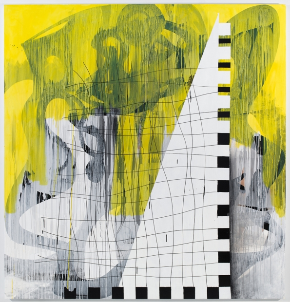 An abstract acrylic painting with yellow, white, black and their mixed colors shows the strings of a triangular guitar alongside assorted geometric shapes.