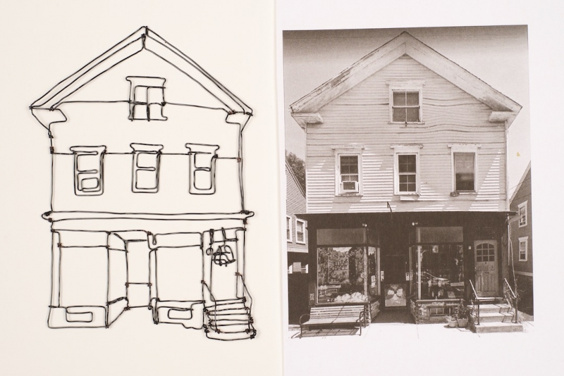 Side-by-side images of a line drawing of a house made from wire, and a sepia photograph of the same house