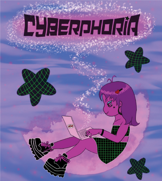 """An illustration of a pink being floating in a purple cloud on their laptop, with the words """"Cyberphoria"""" written in a stylized typography to resemble a digital grid."""