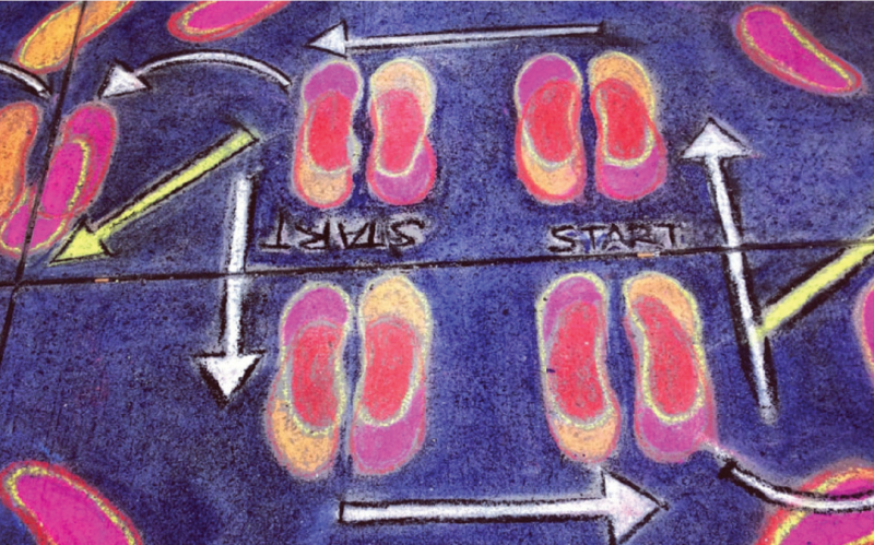 "A chalk drawing on a pavement of shoes with arrows pointed counter-clockwise and the word ""start"" written twice at the center."