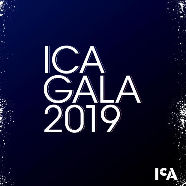 Graphic with dark background, white splatters and text reading ICA GALA 2019