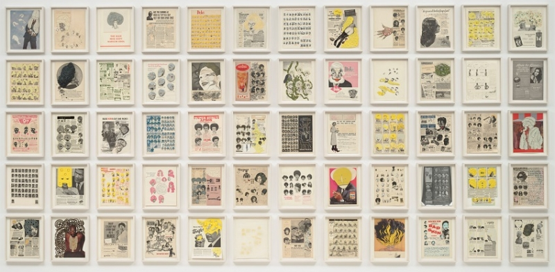 A series of 60 framed prints featuring collaged elements from popular Black culture magazines and hung in a tight grid of five rows.
