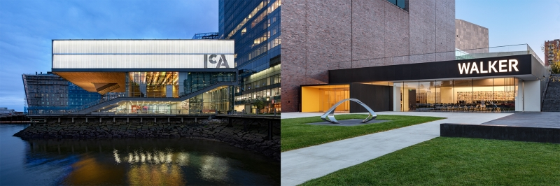 A side by side photo of the ICA building and the Walker Art Museum building.