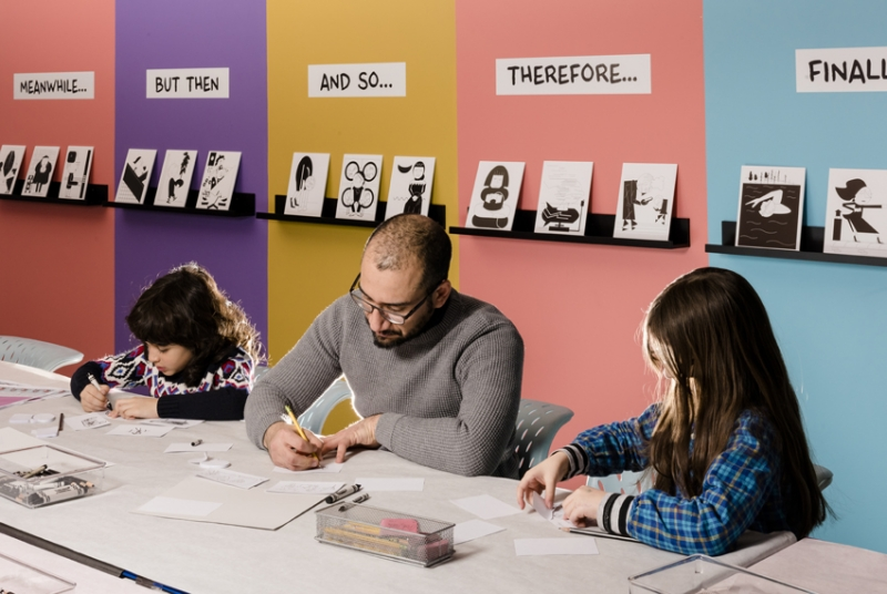 Artist Dave Ortega in the Bank of America Art Lab with kids
