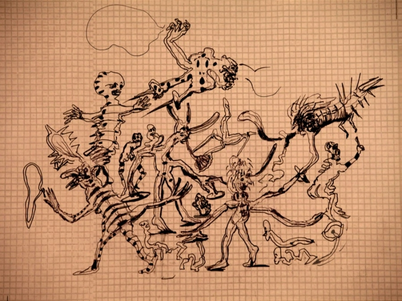 A still from an animated drawing showing black outlines of assorted abstracted figures in an active, dynamic scene resembling a parade or circular gathering.