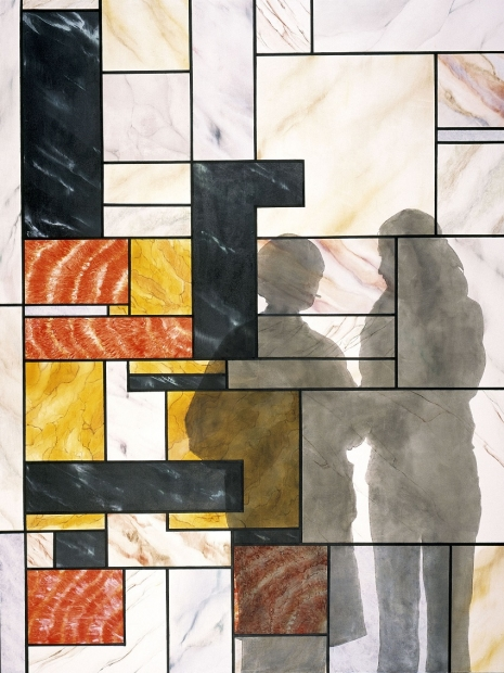 An oil painting of an abstracted geometric and semi-transparent window in the style of Piet Mondrianshadow silhouettes of two apparently female figures.