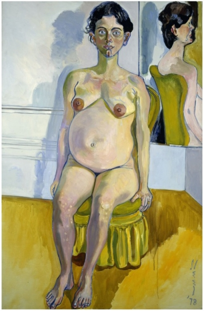 A full-length portrait painting of a nude pregnant woman with pale skin and eyes and short dark hair seated on a yellow chair with her arms at her sides, gazing at the viewer. A mirror in the top right of the painting shows her reflection from the back.